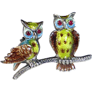 Sterling Enamel Pin Two Owls on a Branch
