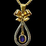 European 18k White & Yellow Gold Bow Teardrop Necklace w Amethyst