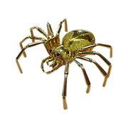 18k Yellow Gold Spider Sculptural Spider Pin