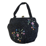Walborg Vintage Embroidered Black Beaded Bag