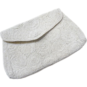 Vintage White Beaded Evening Clutch Purse