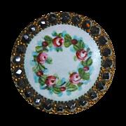 Victorian Enamel Button Wreath of Roses Cut Steel Border