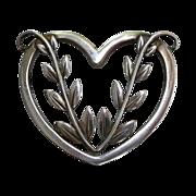 SALE Georg Jensen Sterling Heart & Vine Pin 242B