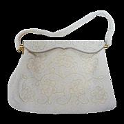 Vintage White Floral Design Beaded Purse c1960s