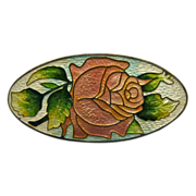 Art Nouveau Sterling Peach Pink Enamel Rose Pin