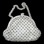 White Satin Evening Purse w Silver Net & Jewels