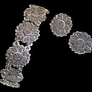Sterling & Marcasite Daisy Link Bracelet & Earrings Set