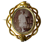 Victorian Rolled Gold Pivoting Photo Locket Pin c1880