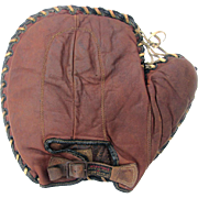 SOLD Early Buckle Back Baseball Baseman's Mitt c1920 - Silk Labels Intact