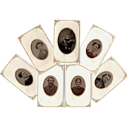 Tintypes Biddeford Maine Family Multi Generation - Set of 7 Tintypes in Paper Sleeves
