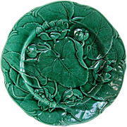 Antique English Majolica Green Glaze Plate - Unusual Waterlily Pattern