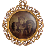 SOLD Large Brass Framed Tintype/Celluloid Photo Button 3 Young Girls in Sailor Outfits c1900
