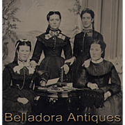 SOLD Whole  Plate Tintype - 4 Young Ladies with Stereo Viewer, Stereo Cards, Photo Album etc.