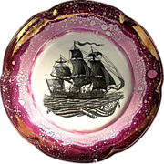 """USS Constitution"" Plate c1930 Purple Splatter Luster Plate Showing the Tall Ship"