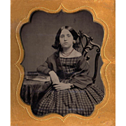 Canadian Teenage Beauty Tintype in Union Beehive Case - ID'd Bride of af an ID'd General - Int