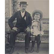 SOLD Tintype NYC Dad with his Little Boy holding Pail and Shovel