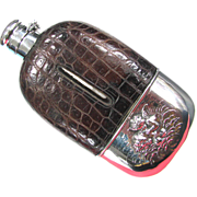 SOLD Antique Flask Sterling and Alligator by Unger Silver Co. USA