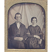 Interesting Couple Daguerreotype - Draped Sheet Background - Early 6th Plate