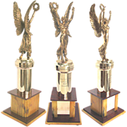 "Vintage Figural Trophy Winged Victory on Colorful Bakelite Pedestal 19"" Tall"