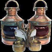 SOLD Pair Nautical Navigation Lanterns c 1900 Copper & Brass Port & Starboard Marine Lights