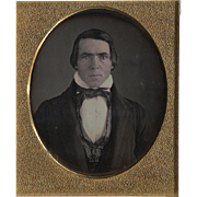 Daguerreotype Man with Piercing Eyes 6th Plate Full Case