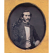 Daguerreotype Elegant Gent on Gothic Posing Chair - 6th Scovill Plate  in Ship's Case