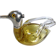 Silver Glass Duck Decanter London 1895 - Saunders & Shepherd Antique Figural Decanter
