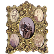 SOLD Antique Brass Photo Frame for 5 Pictures - European c1880