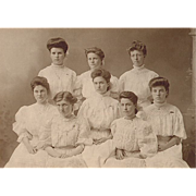 Gibson Girls Photo c1900 Lima, NY - 8 Gibson Girls in White Lace Dresses