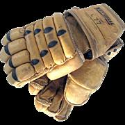 Vintage Leather Lacrosse Gloves c1970 WinnWell