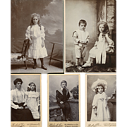 SOLD Victorian Children Fashion Photos - 2 Cabinet Cards and 3 CDVs - Red Tag Sale Item