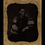 Military Ambrotype NY Militia 6th Plate c1855 Pre- Civil War Very Dark Image