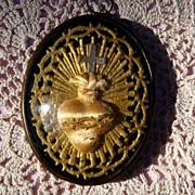 SOLD Religious Votive/Ex Voto Reliquary Sacred Heart
