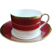 """Coalport Cup and Saucer - """"Athlone"""" pattern Ruby Marone"""