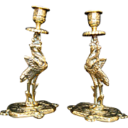 SOLD Pair Antique Brass Candleholders/Candlesticks - Storks/Cranes