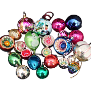 22 Assorted Vintage Traditional Glass Christmas Tree Ornaments:Baubles