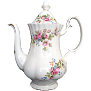 "Small Coffee Pot - Royal Albert ""Moss Rose"" - Vintage"