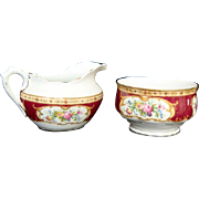 """Lady Hamilton"" - Oval Creamer and Open Sugar Bowl - Royal Albert"