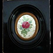 Tiny Framed Georgian Regency Silk Embroidery