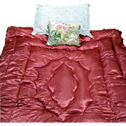 1940's Feather Filled Coral Pink Satin Eiderdown