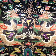 SOLD Large Rare Chinese Ch'ing Dynasty Hand Embroidered Wall Hanging