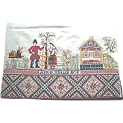 Early 20th Century Russian Folk Art Embroidered Table Runner/Cloth