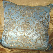 SOLD Antique Ottoman Metallic Thread and Silk Pillow/Cushion c1850