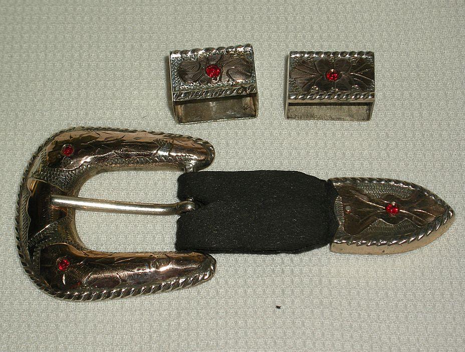 Four Piece Vintage Mexican Sterling Western Belt Buckle Set