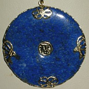 Lapis Lazuli and 14K Gold Pendant with Chinese Character