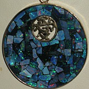 14K Gold Opal Mosaic on Onyx Pendant with Chinese Symbol