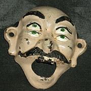 Vintage Cast Iron Four Eyes Bald Man Wall Mount Bottle Opener