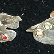 Mexican Sterling Silver Artist's Palette Pre-Eagle Mark Earrings