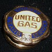 United Gas 30 Year Service Pin Diamond and 10 Karat Gold
