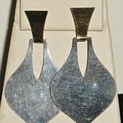 Retired James Avery Sterling and Gold Modernist Post Earrings